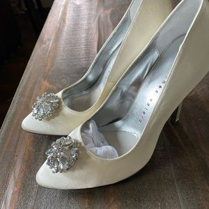 NEW white satin jeweled heels